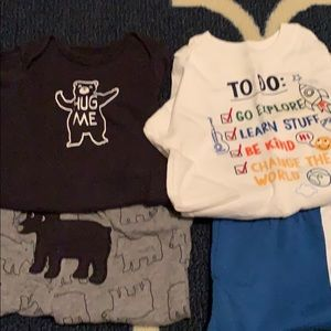 2-two piece outfits. Size 3-6mo & 6mo